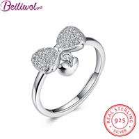 Sterling Silver Rings For Women Bow With Heart Engagement Ring Joyas De Plata 925 Christmas Gifts