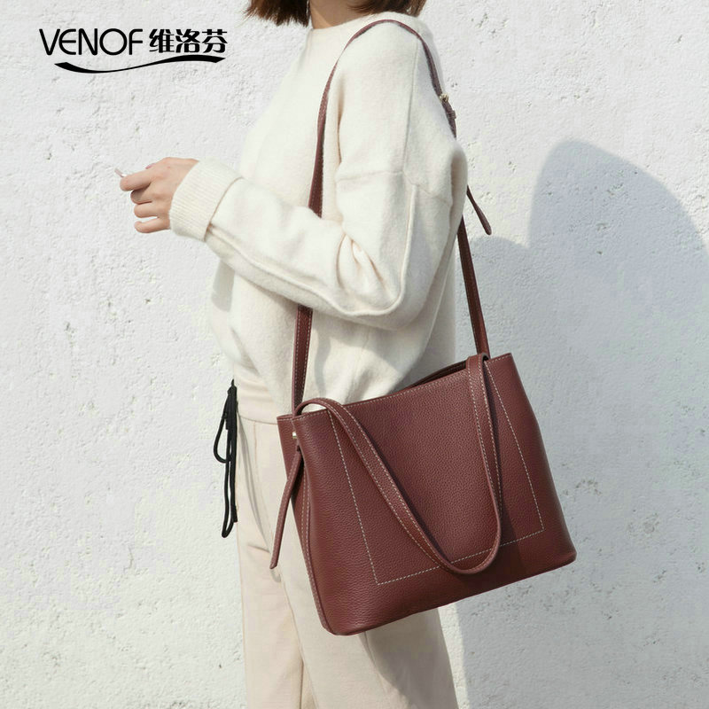 VENOF Fashion cow leather handbags bags for women genuine leather tote bag simple women Shoulder Bag terse female Messenger Bag bucket bags women genuine leather handbags female new wave wild messenger bag casual simple fashion leather shoulder bags