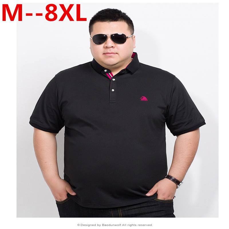 Plus Size 10XL 8XL 6XL 5XL 4XL Brand Clothing Polo Homme Solid Wholesale Polo Shirt Casual Men Tee Shirt Tops Cotton Loose Fit