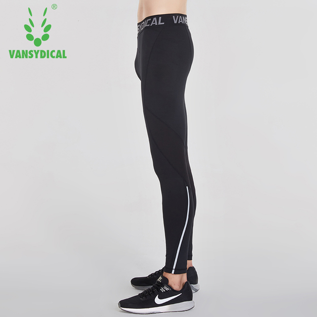 Vansydical Mens Running Tights Quick Dry Basketball Gym Pants Reflective Bodybuilding Jogger Trouser Compression Sports Leggings 3