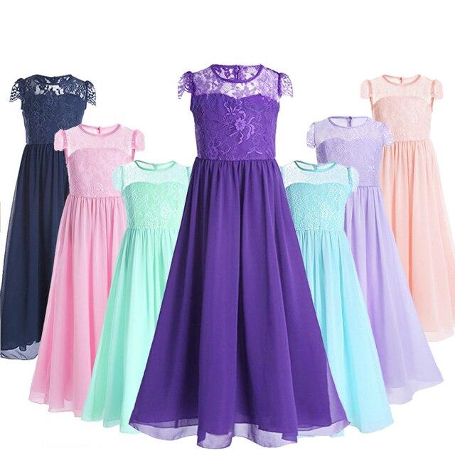6 15Y Grün/Blau Große Mädchen Kinder Blume Prinzessin Hochzeit Prom ...