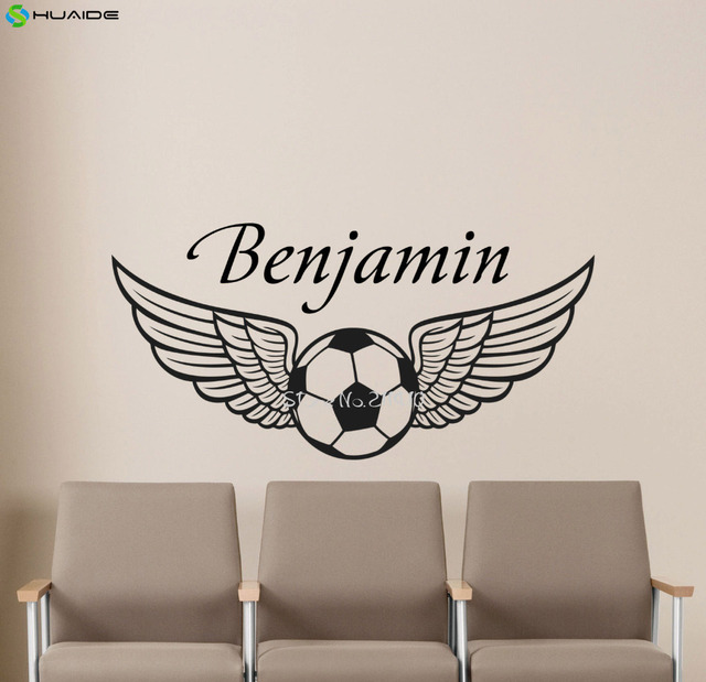 Personalized boys name football wall sticker removable vinyl custom name soccer with flying wings gym sport
