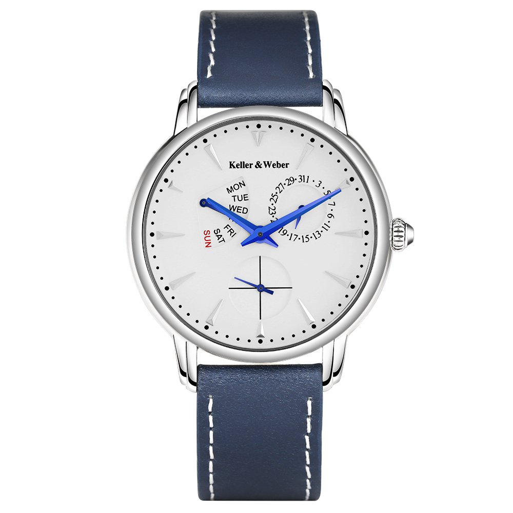Keller & Weber Trendy Auto Date Men Watches Genuine Leather Band Import Japan Quartz Wrist Watch 30M Water Resistant Cool Watch cj 2104 watches men leather band quartz wrist wristwatch fashion black simple watch men 2018 round leather watch water resistant