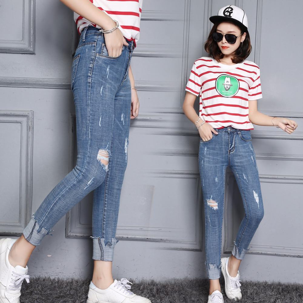 2017 New Fashion Jeans  Pencil Pants High Waist Jeans Sexy Slim Elastic Skinny Pants Trousers Fit Lady Jeans Plus Size kkc6826#  2017 fashion jeans womens pencil pants high waist jeans sexy slim elastic skinny pants trousers fit ladies blue jeans plus size