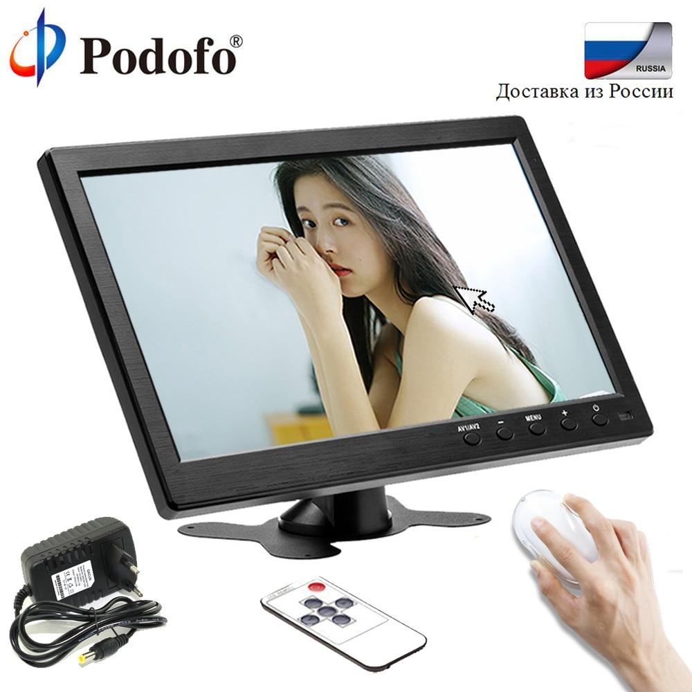 Podofo 10.1 Car Monitor 1024*600 TFT LCD HD Screen Monitor 12Vfor Car Rear Rearview Backup Camera VGA/BNC/AV computer display