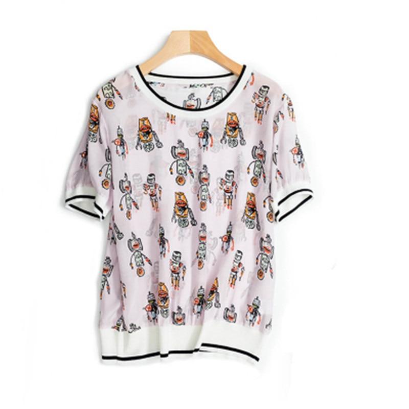 100Seide Farbe Gre gedrucktes 2 Gr Shirt T verst uber Sommer Kurzarm Damenmode rktes SchweiKarikatur Rosa eins wXikOPZuT