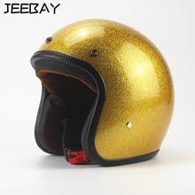 Outono e inverno de Ouro retro Clássico 3/4 Cabeça capacete da motocicleta capacetes de segurança de proteção anti-colisão resistente para harley