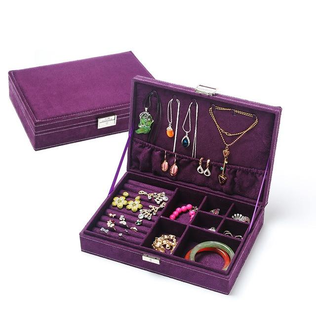 velvet ring plate stud earring storage box jewelry organizer