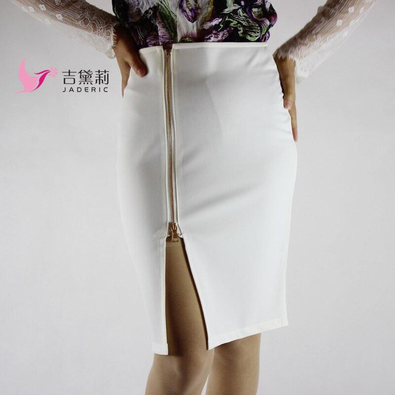 Jaderic 4XL Plus Dámské tužkové sukně Podzim 2018 Elegantní vysoký pas Bodycon sukně Koreanská módní zipová kancelářská sukně