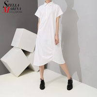 2019 Korean Style Solid Color White Women Summer Dress Shirt Knee Length Female Casual Big Size Loose Midi Dress Robe Femme 5057