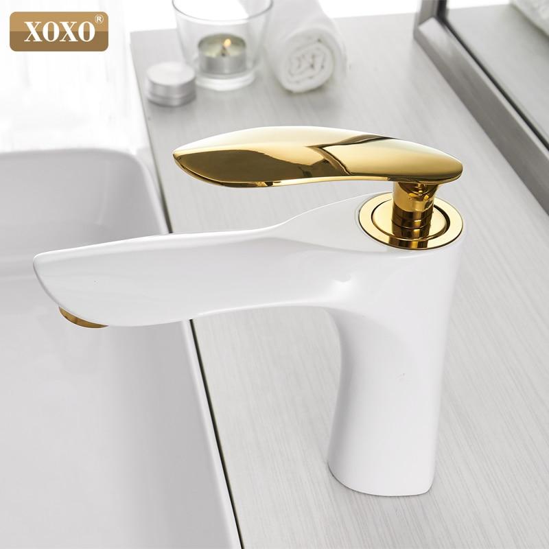 Basin Faucets Hot and Cold Bathroom Faucet Basin Mixer Tap White Single Handle Single Hole Basin