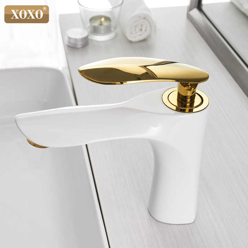 Basin Faucets Hot and Cold Bathroom Faucet Basin Mixer Tap White Single Handle Single Hole Basin Water Sink Mixer Tap 20055