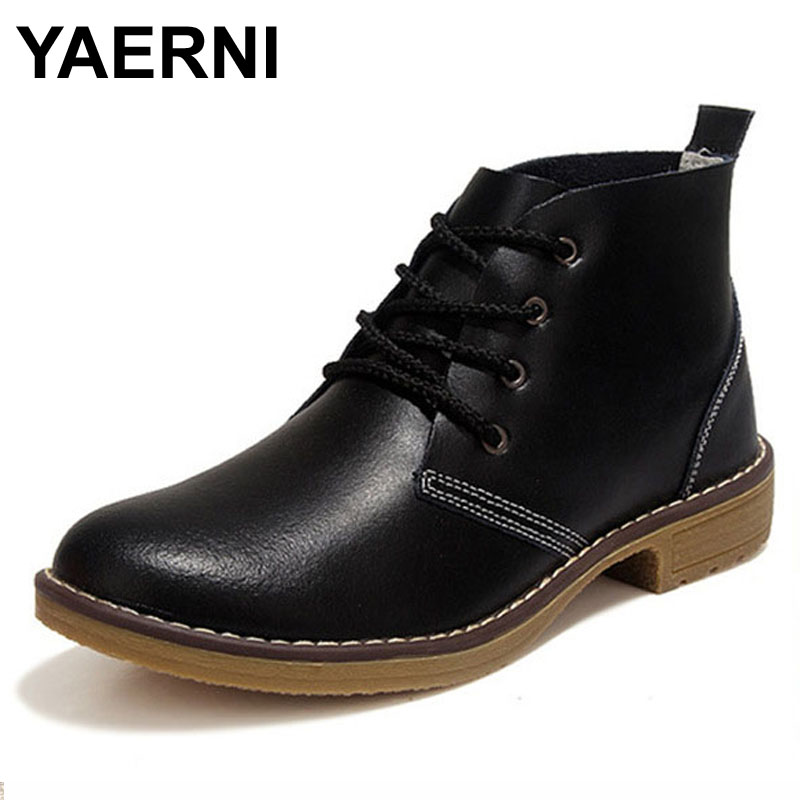 YAERNI Woman Fashion Genuine Leather Motorcycle Ankle Boots Female Lace Up Low Heels Platform Comfortable Spring Autumn Shoes aiyuqi 2018 new spring genuine leather female comfortable shoes bow commuter casual low heeled mother shoes woeme