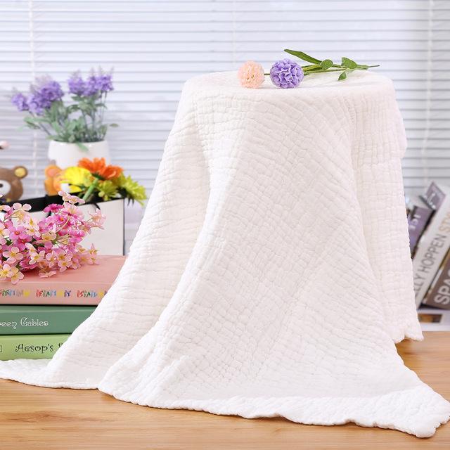 120*120 cm de calidad superior 12 capa de gasa médica towel lavado de algodón colcha de bebé muselina suave sin fluorescencia praia infantil