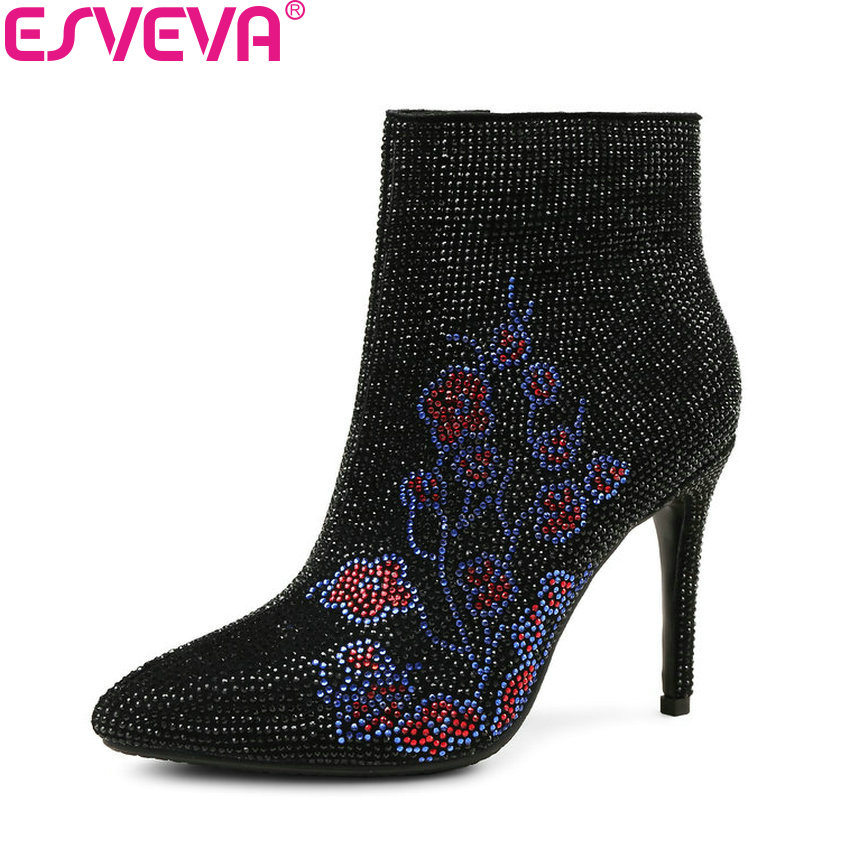 ESVEVA 2018 Women Boots Elegant Thin Heel Spring Autumn Ankle Boots Short Plush Pointed Toe High Heel Ladies Shoes Size 34-40 esveva 2016 sequined platform women boots autumn fashion boots wedges high heel leisure round toe ladies ankle boot size 34 39