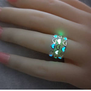 Rings for Luminous-Ring Heart-Shape Glow Adjustable Silver-Color Glowing-In-Dark Hollow