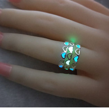 New Fashion Adjustable Heart Shape Luminous Ring Silver Color Rings Glowing in Dark rings love Free Size Women Gift