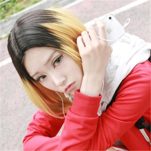 Haikyuu! Haikyu! Kenma Kozume Cosplay Wig Black Blonde Ombre Anime Cosplay Hair Wigs