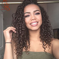 Natural Color Brazilian Human Hair Afro Kinky Curly Wigs With Bangs African American Kinky Curly Lace Front Wig Natural Hairline