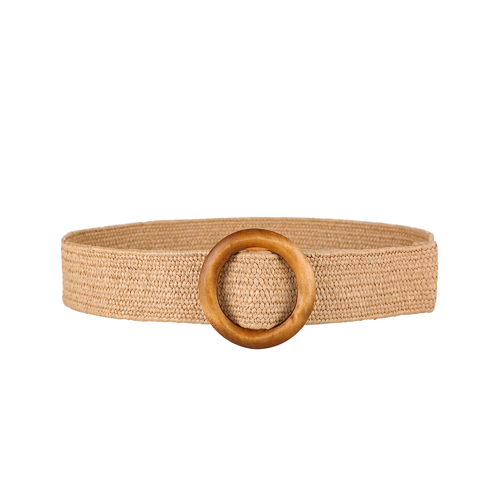 Braided   Belt   with Wooden Buckle Ladies Casual Solid Color Luxury Fashion for Dress Summer Women Woven   Belt