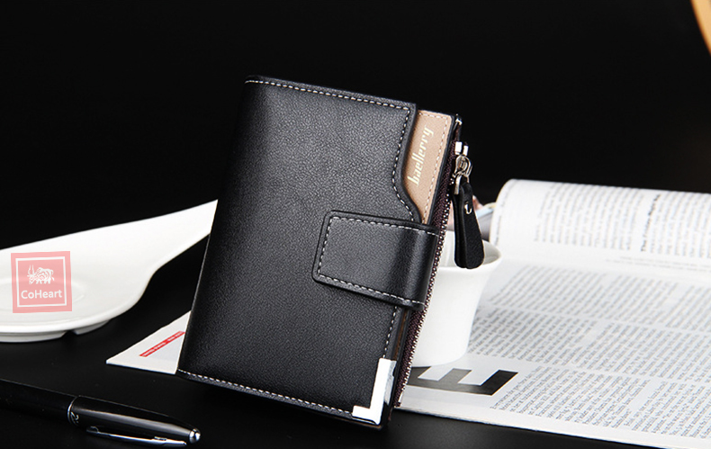 Leather Multifunction Men Wallets Zipper Pocket Trifold Purse Card Holder Hasp Wallet Zipper Purse brown one size 7