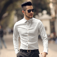 2018 Mens New Spring Casual Black Mixing Color Cotton Printed Long Sleeve Shirt Metrosexual Man Slim