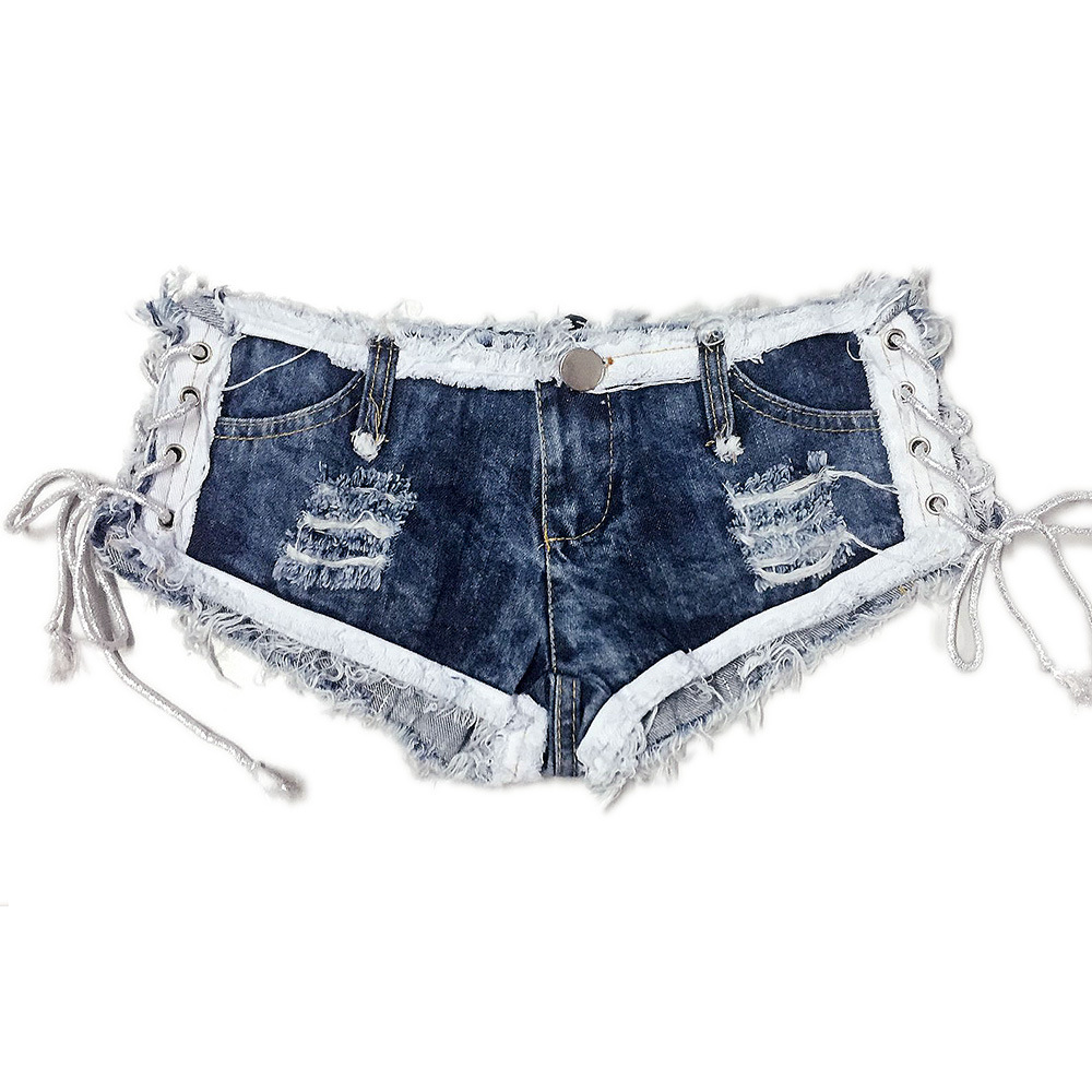 Dancing Queen Sexy Club Denim Thong Shorts, Summer Short Jeans Femme, Mini Micro Shorts Tassel White Lace Jeans Shorts for Women