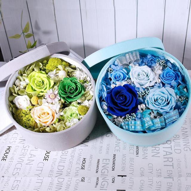 Blue/Green Mixed Preserved Fresh Flowers with Round 20.5cm Box For ...
