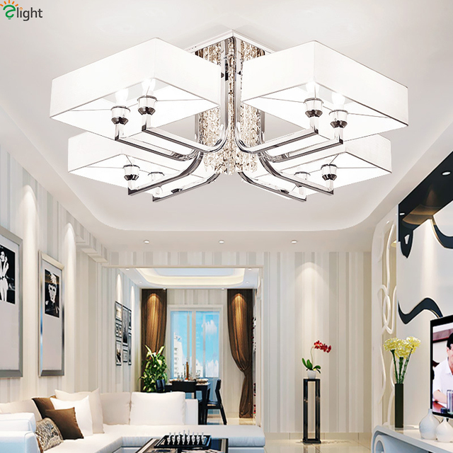 Modern lustre crystal led ceiling lights novelty chrome metal living room led ceiling lamp bedroom led