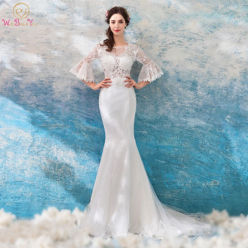 Trumpet Wedding Gowns With Sleeves: Aliexpress.com : Buy Walk Beside You Lace Wedding Dress