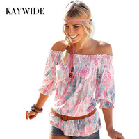 KAYWIDE 2016 New Summer Beach Style T Shirts Slash Neck Half Sleeve Strapless Floral Print T