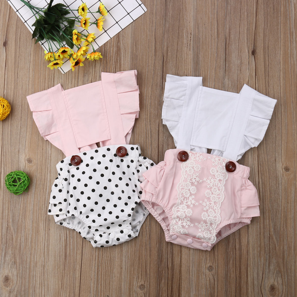 Newborn  Infant Baby Girl Clothes Lace Splice Romper Backless Jumpsuit Outfit Sunsuit Baby Clothing