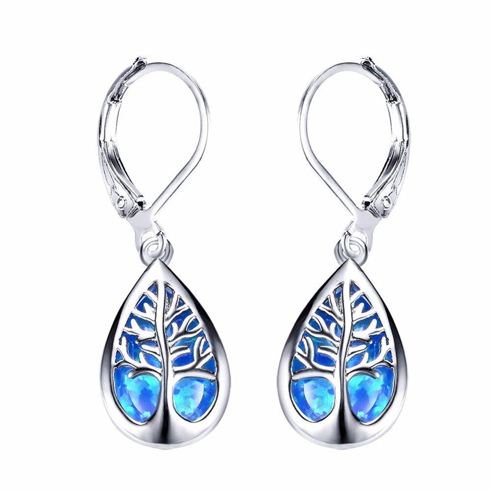 AMORUI Waterdrop Blanco/azul ópalo pendientes para las mujeres Bijoux Femme plata Árbol de la vida pendientes moda pendiente de cobre joyería
