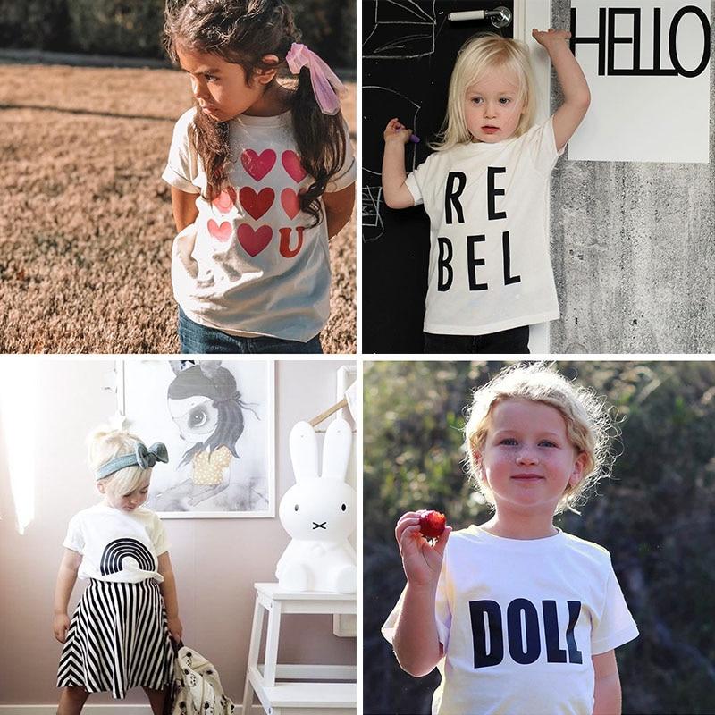 Enkelibb Boy Tshirt Kids Rainbow Toddler Girls Fashion Children Summer White Letter-Pattern