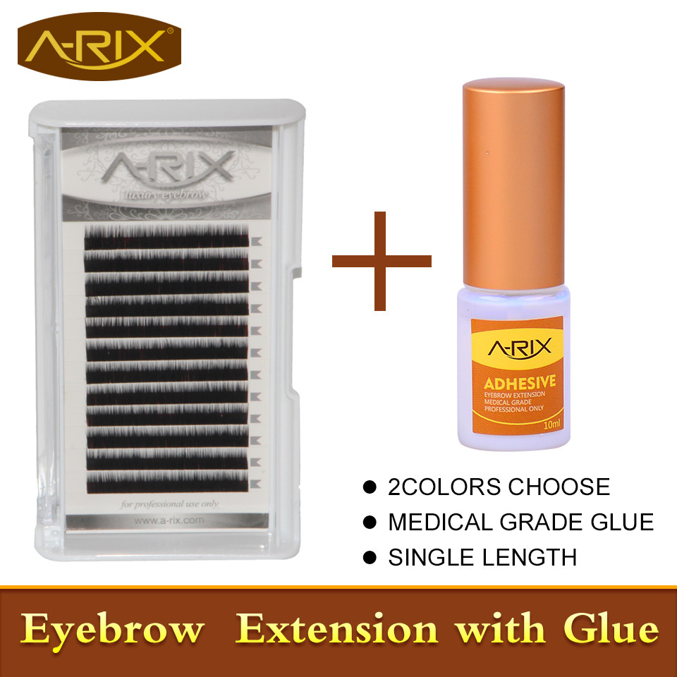 Big Sale 3pcs Single Length Eyebrow Extension with 1pc Professional Medical Grade Eyebrow Extension Glue Dark Dark Brown Color