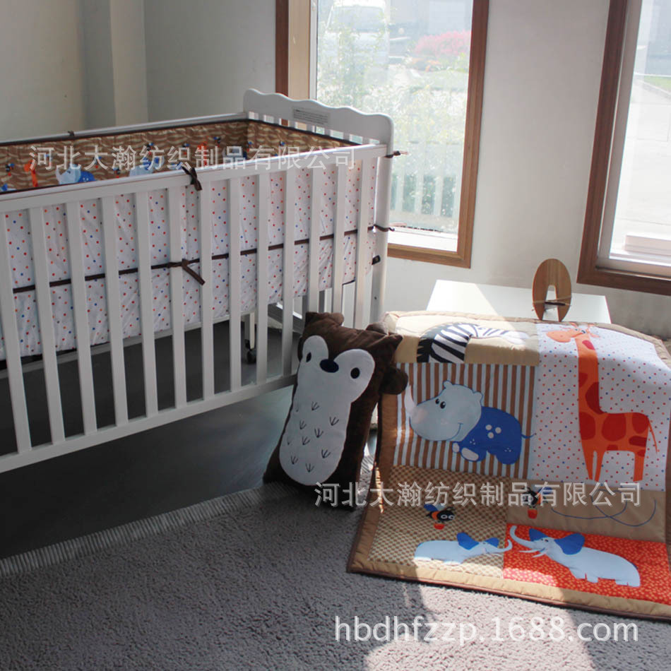 ФОТО Promotion! 3pcs Embroidery Kid's Comforter Bedding Set Baby Girl and Boy Crib Bedding Sets ,include (bumpers+duvet+bed cover)