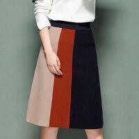 Retro Thick Knee length Knit Skirt Women 2018 Autumn Winter Patchwork High Waist Sweater Skirt OL Vertical Strip A line Skirts