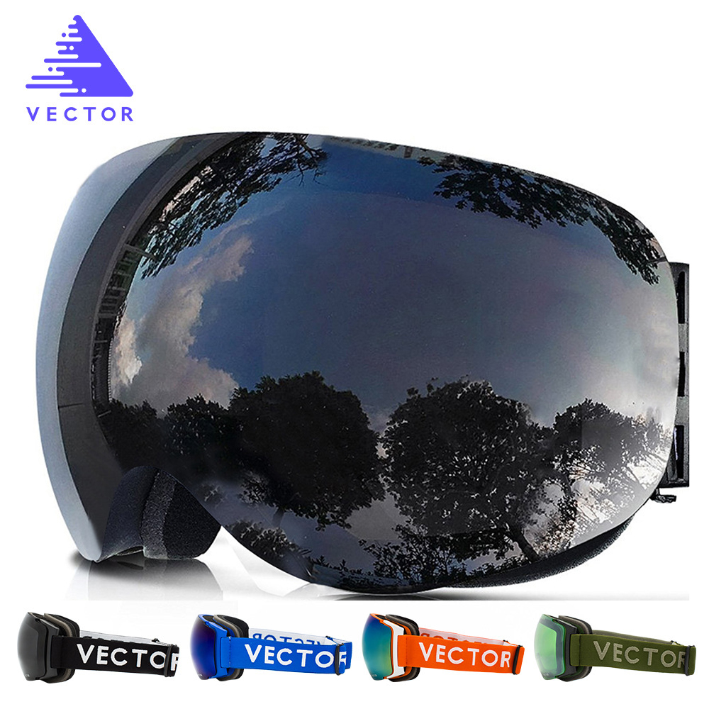 VECTOR New Brand Ski Goggles Double UV400 Anti-fog Big Ski Mask Glasses Skiing Professional Men Women Snow Snowboard Goggles 4 in 1 led flashlight magnetic work light rechargeable stand hanging swivel hook rotation power bank torch lamp mfbs