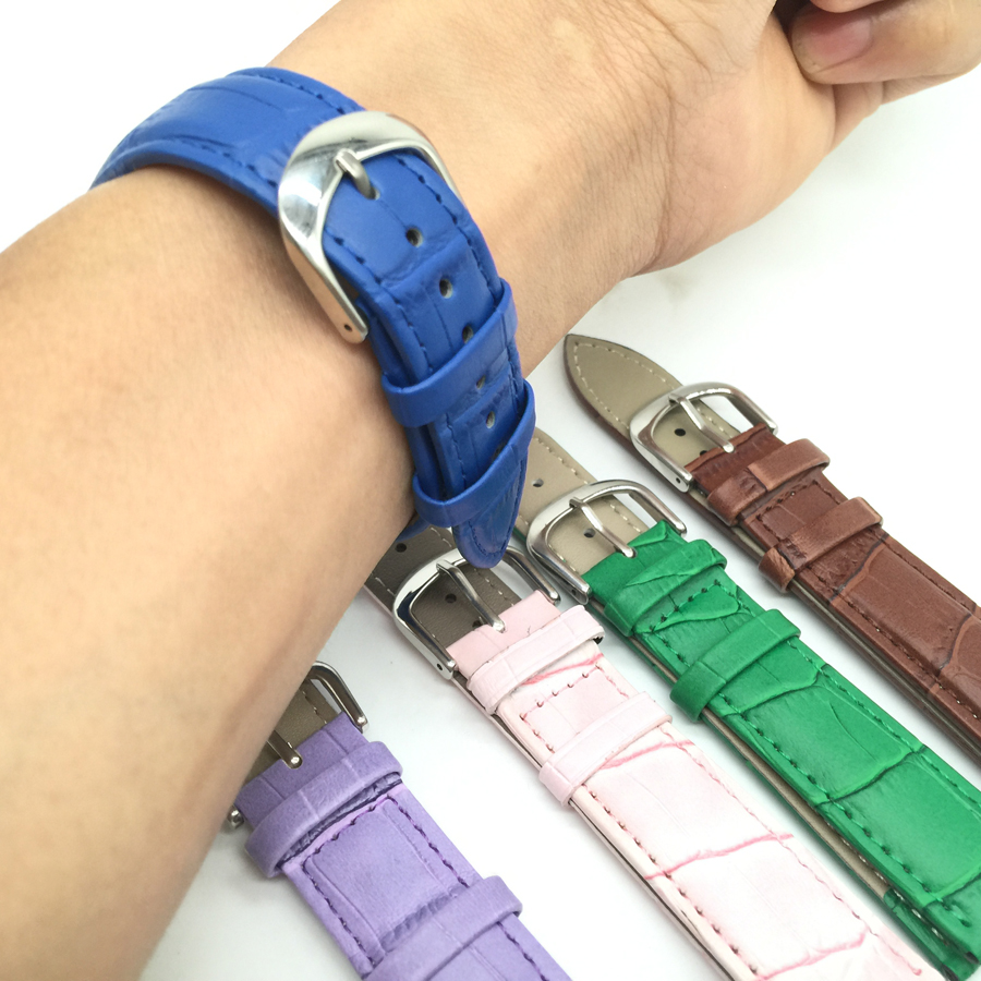 Candy color Leather Watches Band Strap 12/14/16/18/19/20/22mm Brown Pink White Green Black Blue Woman Man Watchbands Watch Belts