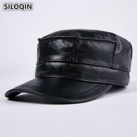 SILOQIN Unisex Genuine Leather Hat With Earmuffs Winter Warm Thicker Cowhide Military Hats For Men Women Trend Brand Lovers Caps