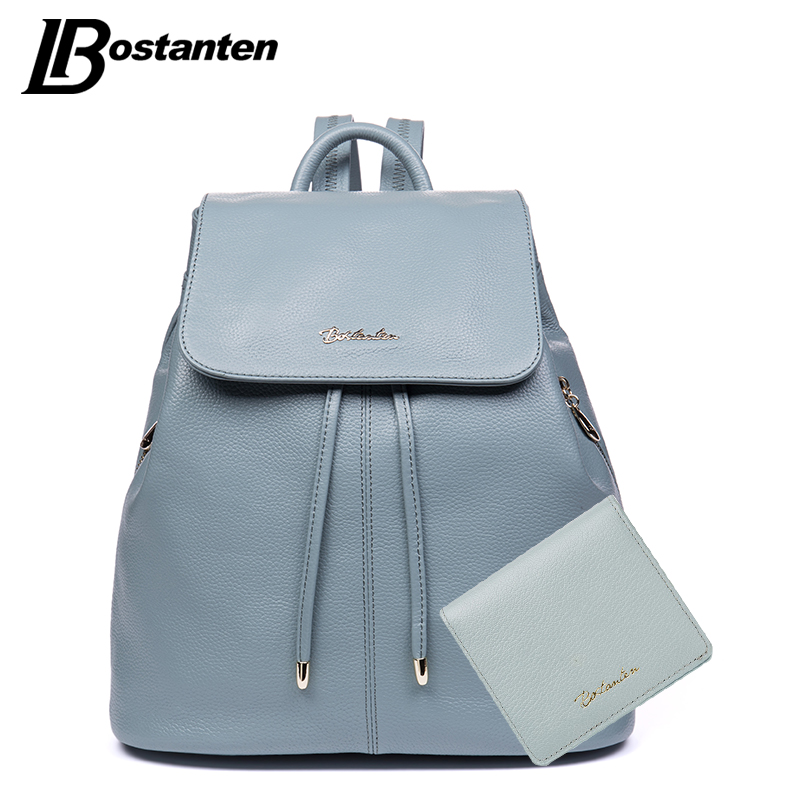 BOSTANTEN Natural Cow Genuine Leather Women Backpacks Drawstring School Bags For Teenagers Girls Designer Female Travel Backpack burgundy pleated design v neck long sleeves t shirts