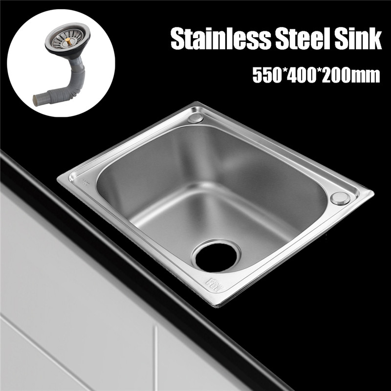 Xueqin 304 Stainless Steel Kitchen Sink Single Bowl Single Sink With Drainer Wash Dishes 550X400X200MM Handmade Brushed Seamless 450x390x200mm 304 stainless steel kitchen sink brushed single bowl slot vegetable trough tank with faucet basket drain assembly