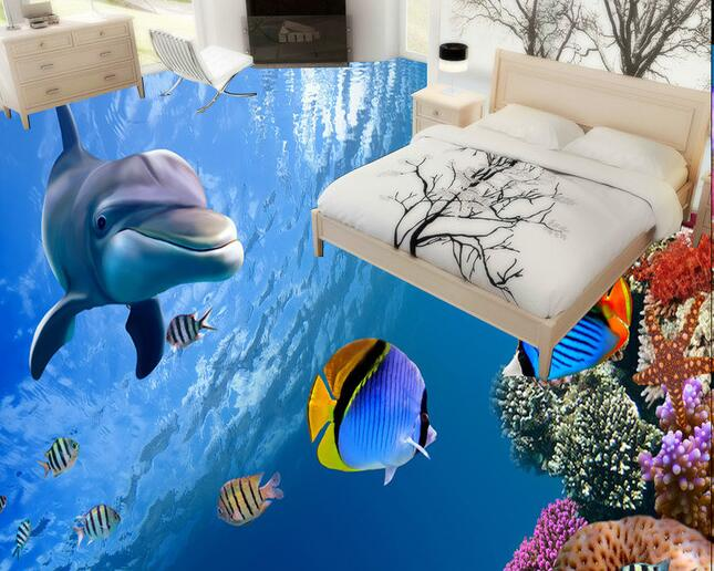 3 d pvc flooring custom  wall paper  Marine reef fish in the sea world 3d bathroom flooring 3d wall mural wallpaper