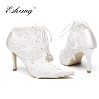 Eshemg 2018 Ankle Boots Satin Wedding Boots Size 11 See Through Pointed Toe Ladies High Heels Wedding Shoes