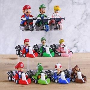 Image 2 - 10 stks/set Anime Figura Super Mario Bros Kart Pull Back Auto Leuke PVC Action Figure Pop Collectible Model Baby Speelgoed voor Kids