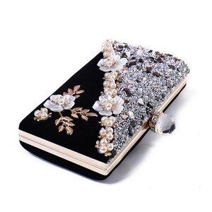 Image 2 - 2020 Hoge Kwaliteit Vrouwen Diamant Patchwork Avondtassen Handgemaakte Bloemen Bruiloft Diner Tassen Drop Shipping MN834