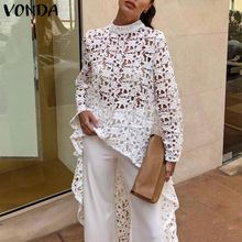 VONDA S-5XL White Lace Blouse Women 2019 Summer Tops Tunic Sexy Irregular Hem Hollow Tops Sexy Blouse Beach Blusas Casual Shirts sexy midriff baring tops