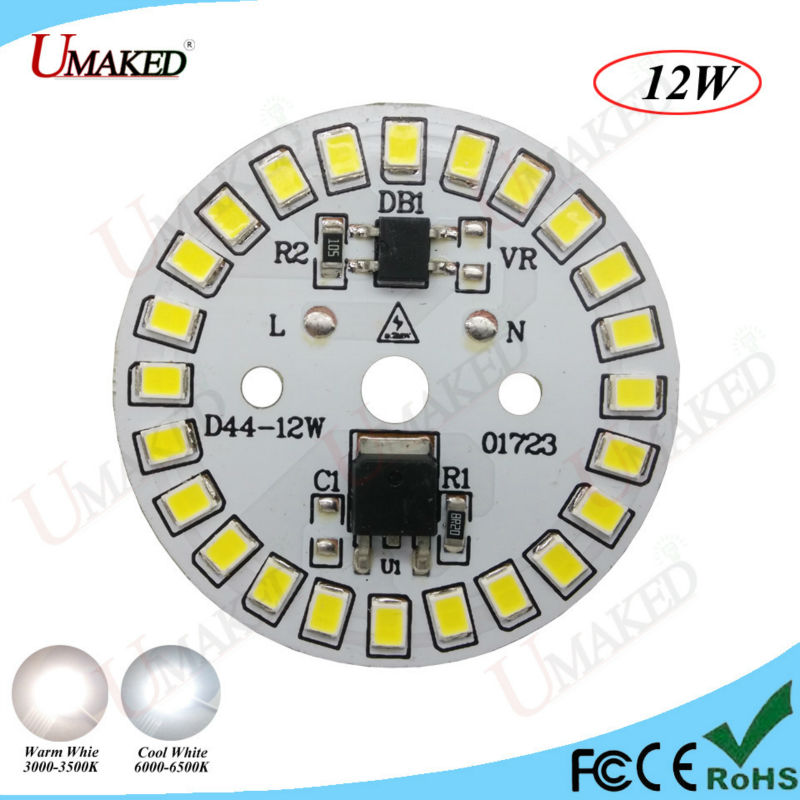 100pc 12W LED PCB AC220V Directly No need driver bulb Aluminum lamp plate with SMD2835 L ...