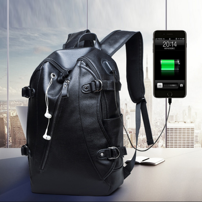 Waterproof Men Laptop Backpacks For Teenager USB charging Port School Bags PU Leather Backpack Anti Theft Travel Bag Bagpack PJ цена 2017