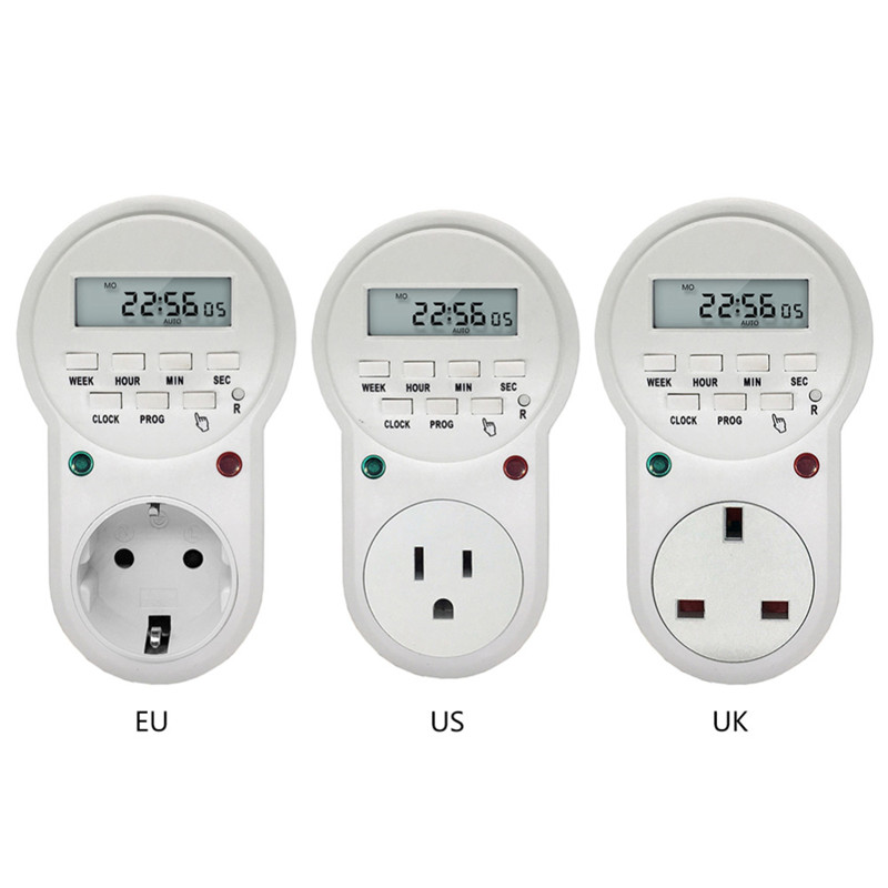 Multifunction EU/USA/UK Timer Plug Electronic Timer Digital Programmable Socket Switch Energy Saving цена